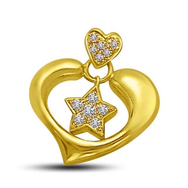 Star in my Heart 18KT Gold & Diamond Pendants for Lady Beautiful