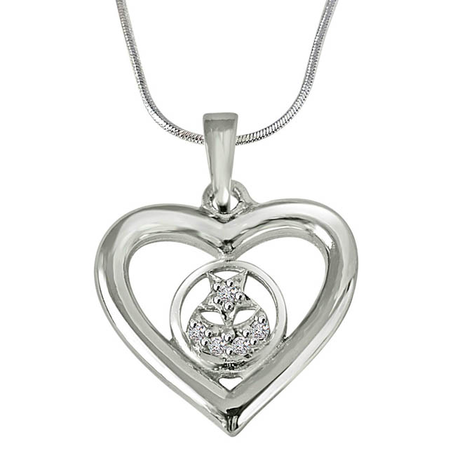 Stary Heart - Real Diamond & Sterling Silver Pendant with 18 IN Chain