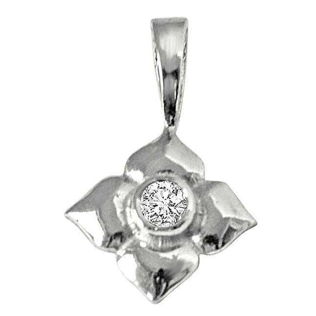 Petal's Power - Real Diamond & Sterling Silver Pendant with 18 IN Chain