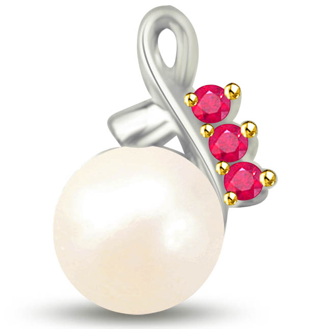 Stunning White Gold Pendants Of Pearl Rubies -Diamond -Ruby