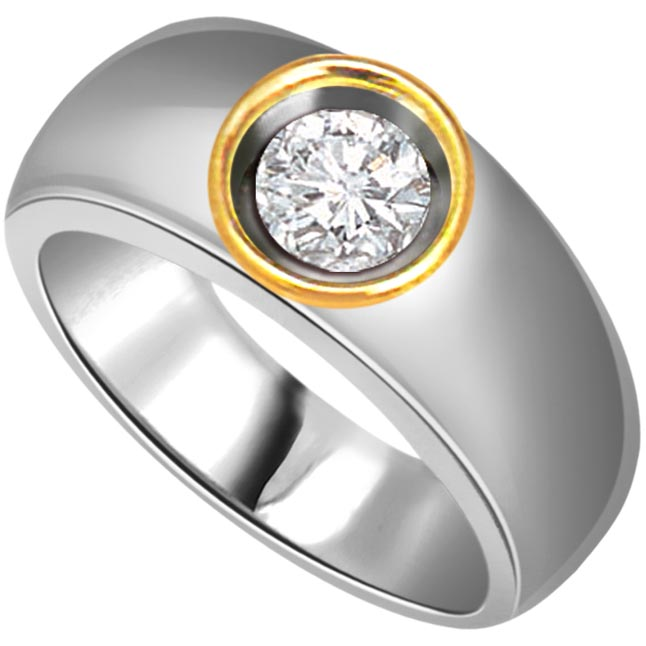 Stylish 0.20 ct Diamond Men's Solitaire rings -Two Tone Solitaire