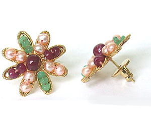 Stylish Emerald, Ruby & Peach Pearl Star Shape Earrings SE -123 -Flower Shape Earrings