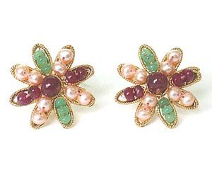 Stylish Emerald, Ruby & Peach Pearl Star Shape Earrings SE -123 -Flower Shape Earrings