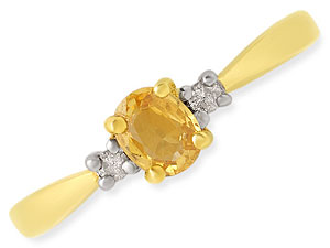 Sunshine Sparkle Classy Diamond & Yellow Topaz rings -Gemstone & Diamond