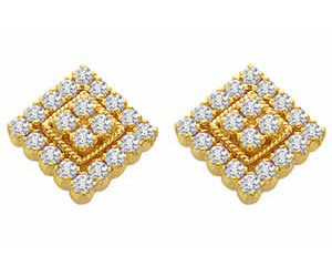 earrings lexington in studs square invisible p men castle diamond s shaped set jewelry white cut for category gold the product ky princess