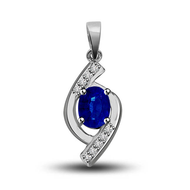 Surrounded By Love:Blue Oval Sapphire & Diamond 14kt White Gold Pendants