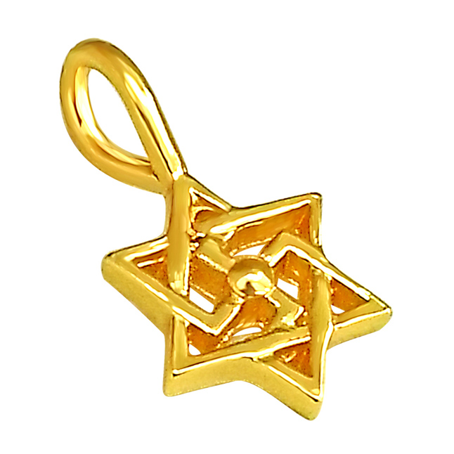 Swastik Shaped Gold Plated Sterling Silver Pendants with Gold Plated Chain -Religious