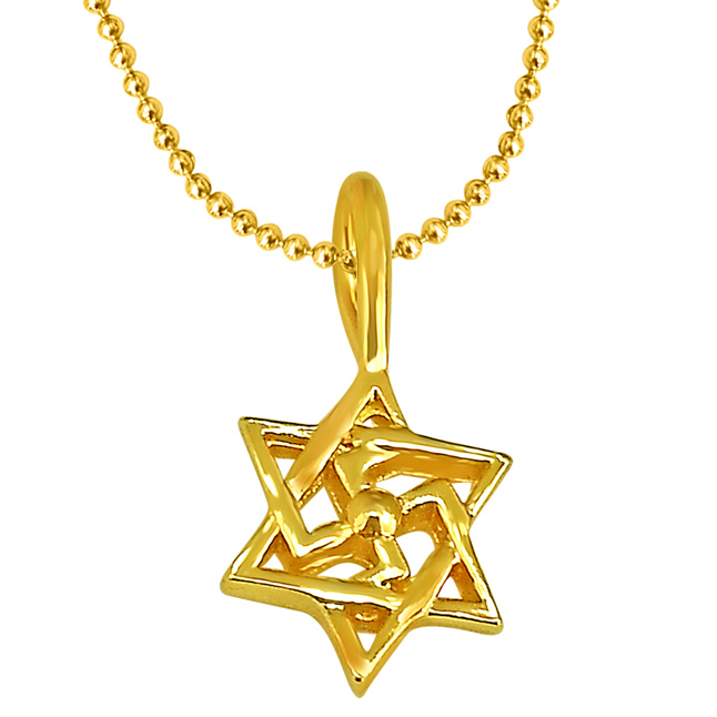 Swastik Shaped Gold Plated Sterling Silver Pendant with Gold Plated Chain for All (SDS193)