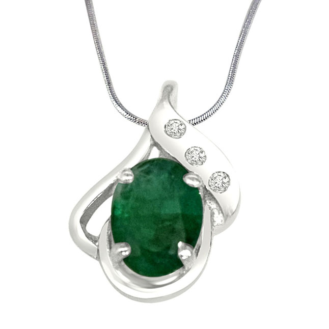 "Sweet Connections Real Diamond, Green Emerald & Sterling Silver Pendants with 18"" Chain"