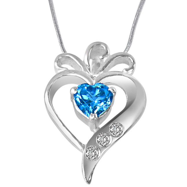 "Sweet Mystery Of Life Real Diamond, Blue Topaz & Sterling Silver Pendants with 18"" Chain"