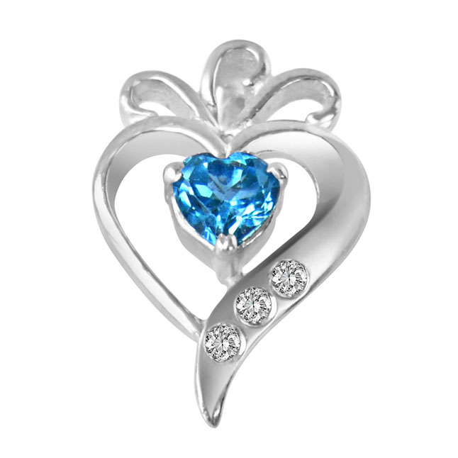 Sweet Mystery of Life Real Diamond, Blue Topaz & Sterling Silver Pendant with 18 IN Chain