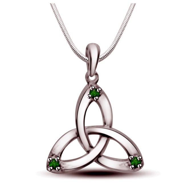 "Sweet Triangle -Real Emerald Pendants in Sterling Silver with 18"" Chain"