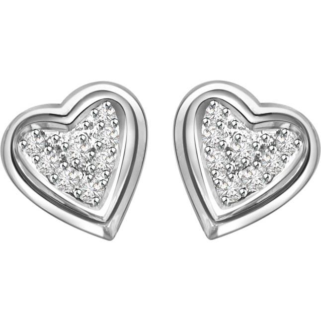 Sweetheart Diamond Earrings -Heart Shape Earrings