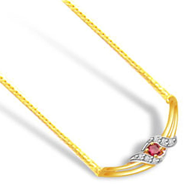 Symbol of Love 0.18ct Diamond & Ruby Gold Necklace -2 Tone Necklace Pendants + Chain