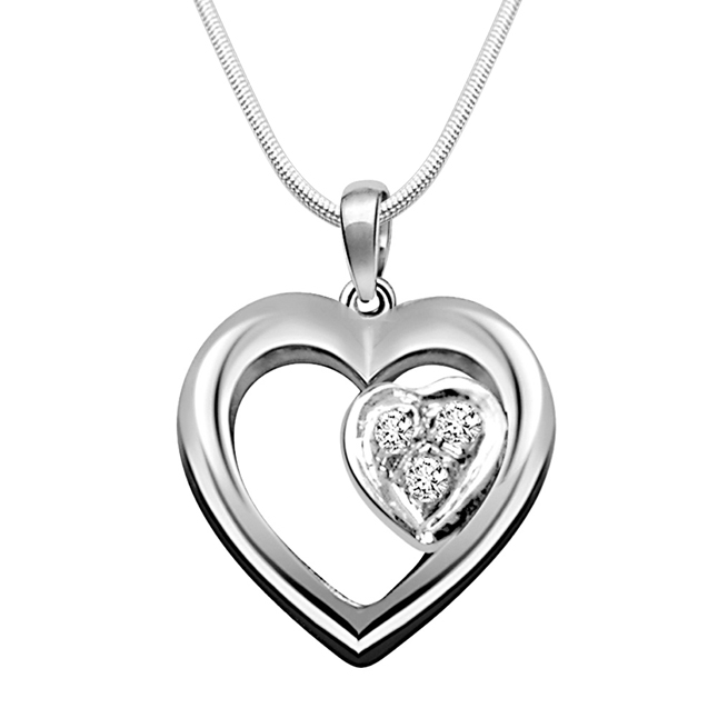 "Symbol of Love -Real Diamond & Sterling Silver Pendants with 18"" Chain"