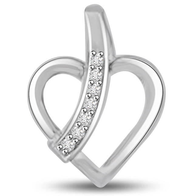 Symbol of Peace Diamond & White Gold Heart Pendants