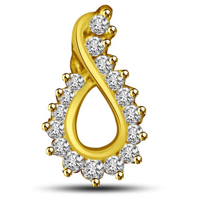 Tear Drop shaped Diamond & Gold Pendants -Designer Pendants