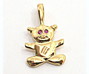 Teddy Torte Ruby Pendants in 18kt gold -Dia+Gemstone