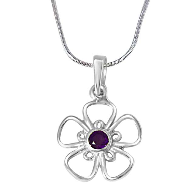 The Flower of Life Purple Amethyst & 925 Sterling Silver Pendant with 18 IN Chain