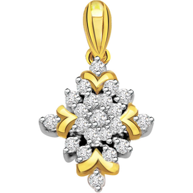 The Golden Tale 0.19 ct Diamond Flower Shape Pendants