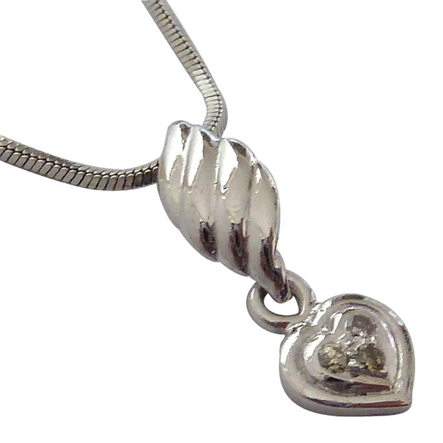 From The Heart- Real Diamond & Sterling Silver Pendant with 18 IN Chain