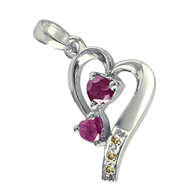 "The House of Love Real Diamond, Red Ruby & Sterling Silver Pendants with 18"" Chain -Diamond -Ruby"