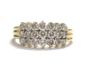 The Inseparable Trendy 1.29 ct Diamond rings -Yellow Gold Eternity rings