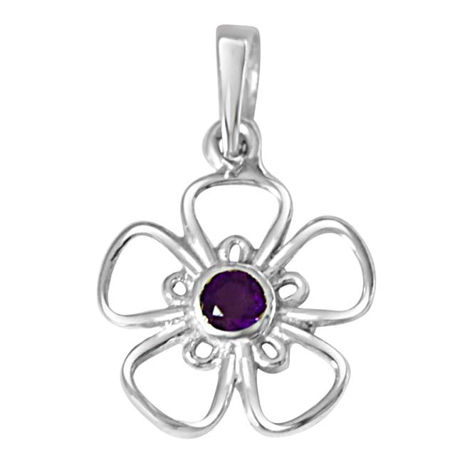 "The Flower of Life Purple Amethyst & 925 Sterling Silver Pendants with 18"" Chain"