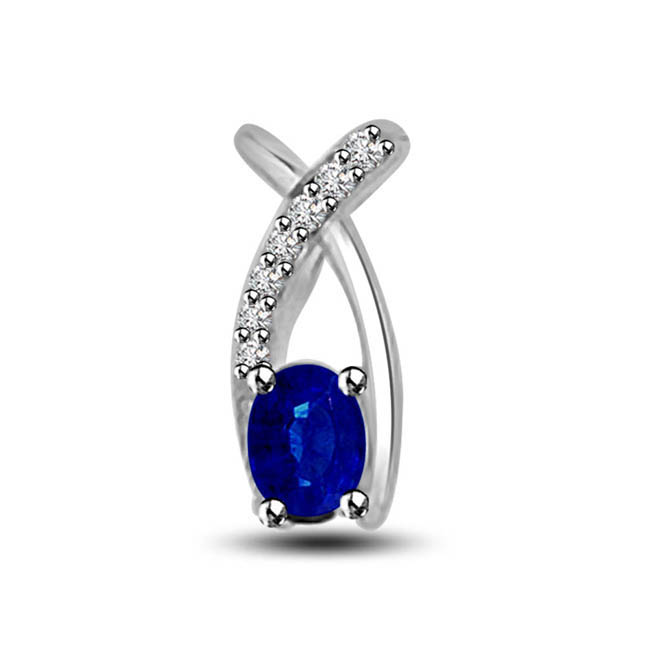The Silver Knot 0.25ct Tcw Blue Sapphire & Diamond White Gold Pendants Beautifully Set