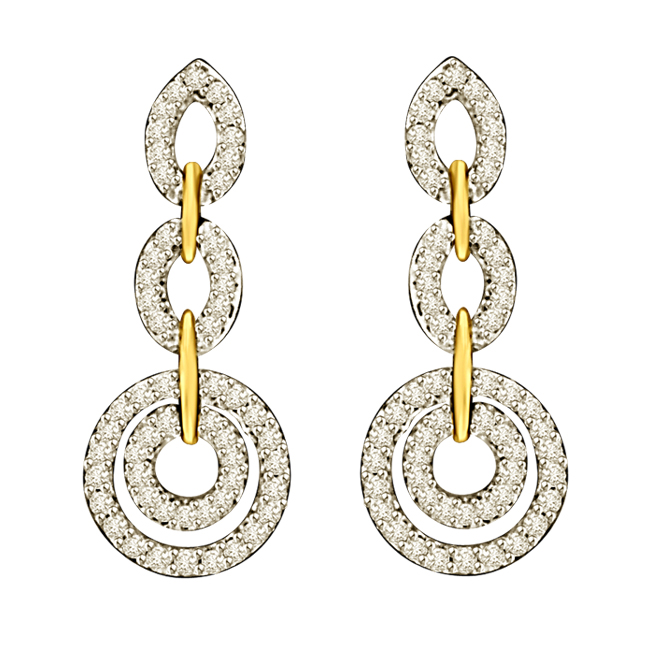 Three B ed Diamond Circles & Petals Two Tone Gold Hanging Earrings For Your Love