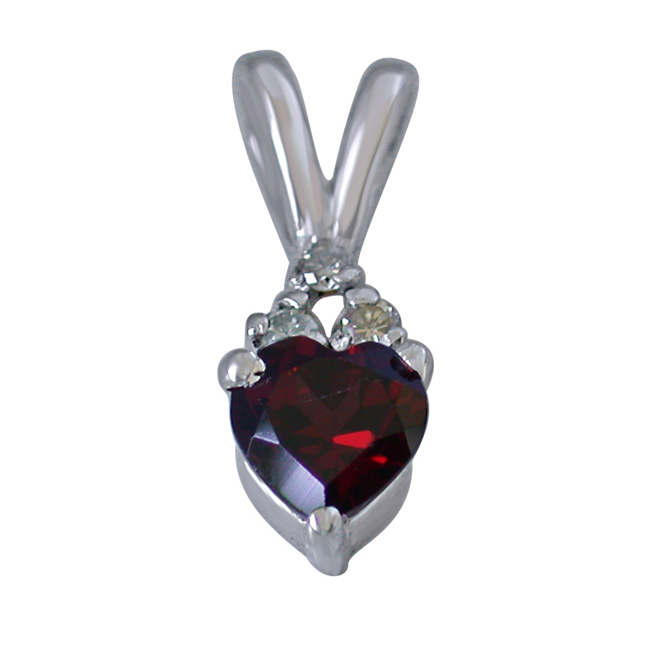 "3 Diamond Set on Top of Heart Shape Garnet 925 Silver Pendants with 18"" Chain"