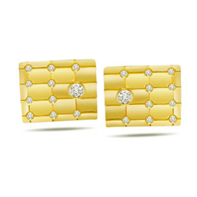 Tic Tac Toe -0.30ct Diamond Gold Cufflinks -For Men