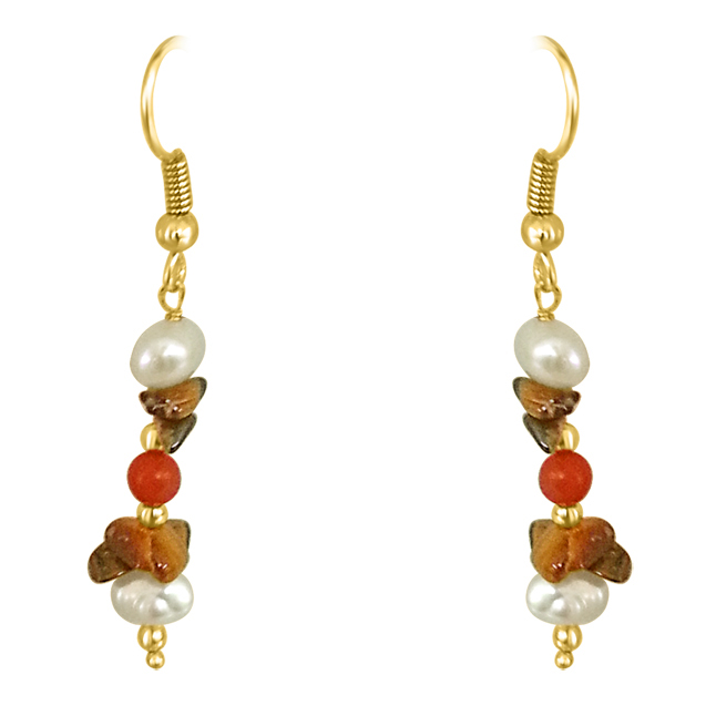 Tiger Eye, Coral & Pearl Earrings