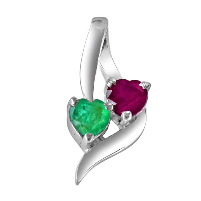 Time To Remember Green Emerald, Red Ruby & Sterling Silver Pendant with 18 IN Chain