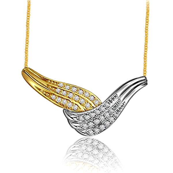 Timeless Beauty Two Tone Diamond Necklace Pendants with chain -2 Tone Necklace Pendants + Chain