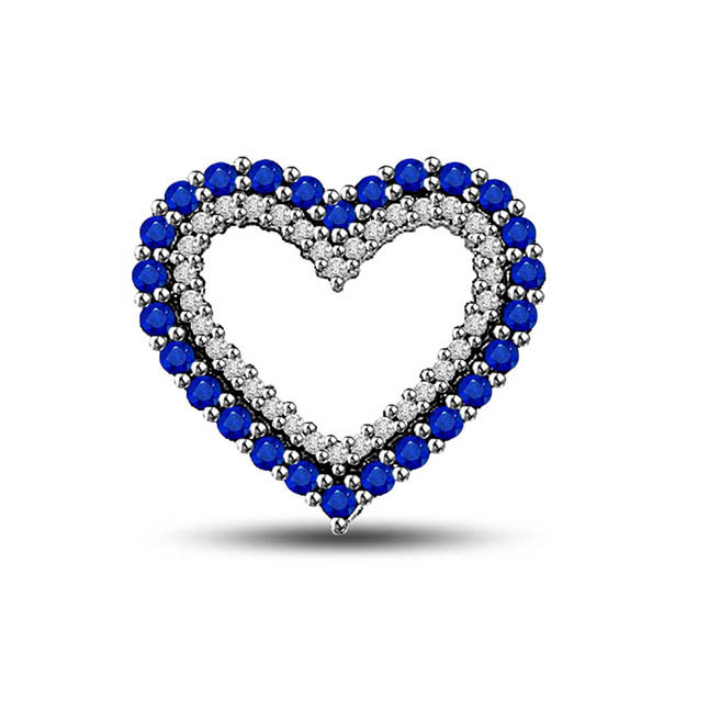 Together Always : Diamond & Sapphire Beads White Gold Necklace