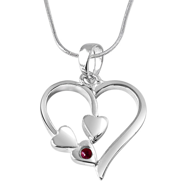 Together Forever Red Ruby & Sterling Silver Pendant with 18 IN Chain