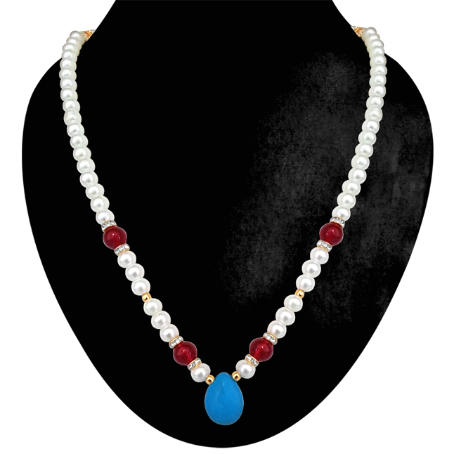 Touch of Blue -Turquoise bead, Shell pearl & Red Beads Necklace. -Necklace