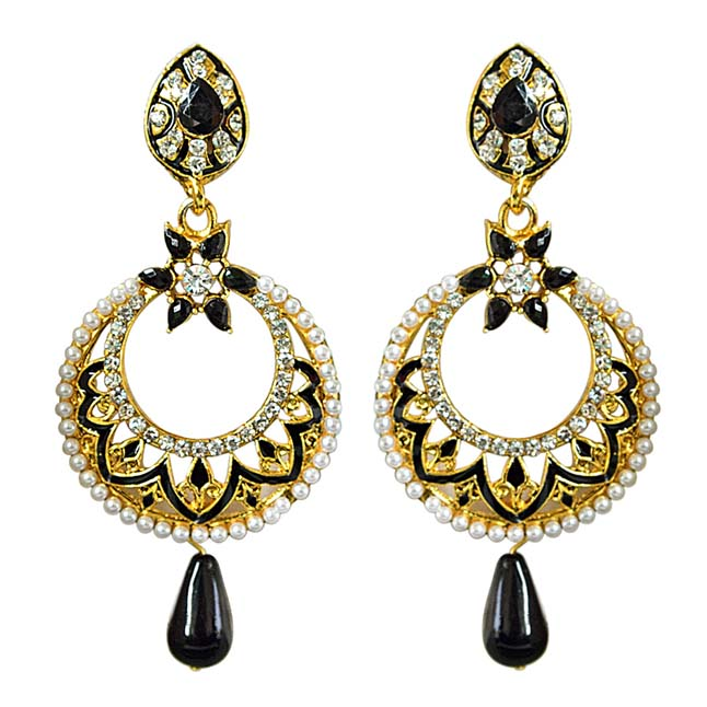 Traditional Black & White Stone & Gold Plated Ch bali Enamelled Earrings