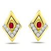 Traditional Diamond Ruby Earrings -Geometrical