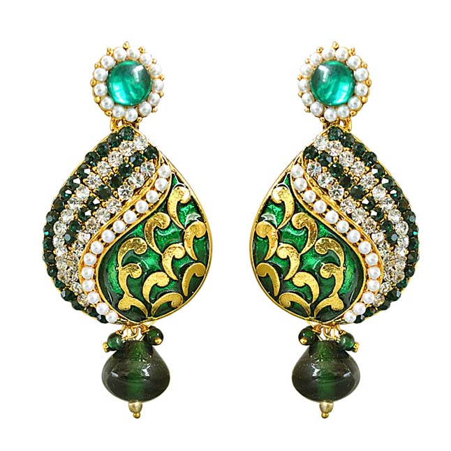 Traditional Drop Shaped Green & White Stone & Gold Plated Chandbali Earrings - New Arrival
