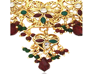 Traditional Rajasthani Polki Necklace Earrings Set