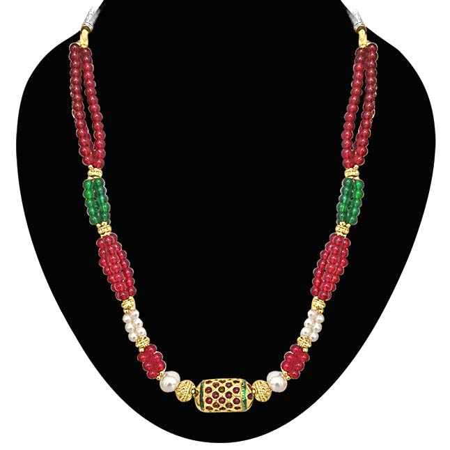 Traditional Cylinder Kundan Bead & Coloured Stone Necklace. -Necklace