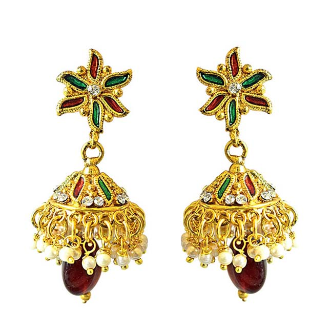 Traditional Floral Shaped Red & Green Enamelled, Coloured Stone & Gold Plated Copper Jhumki Earrings