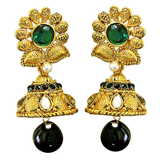 Traditional Floral Shaped Green & White Stone & Gold Plated Chandbali Earrings