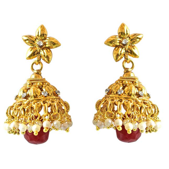Traditional Gold Plated Copper & Red Coloured Stone Jhumki Earrings