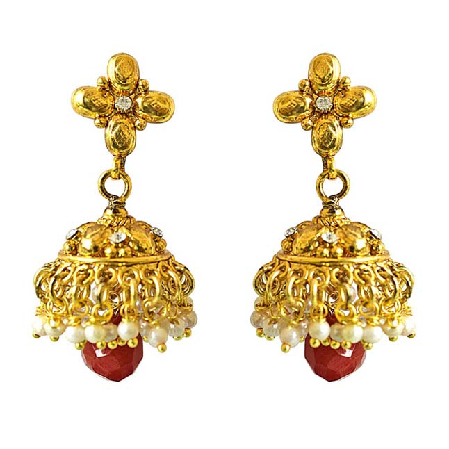 Traditional Gold Plated Copper White & Red Coloured Stone Jhumki Earring
