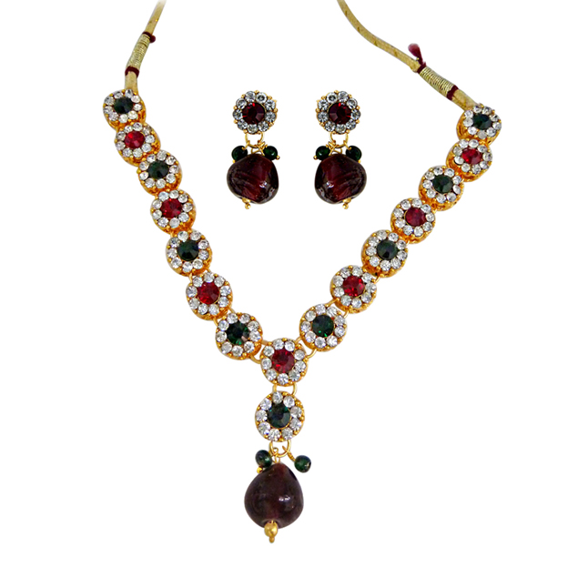 Traditional Indian Beauty -Red, Green & White Colour Fashion Jewellery Necklace Set
