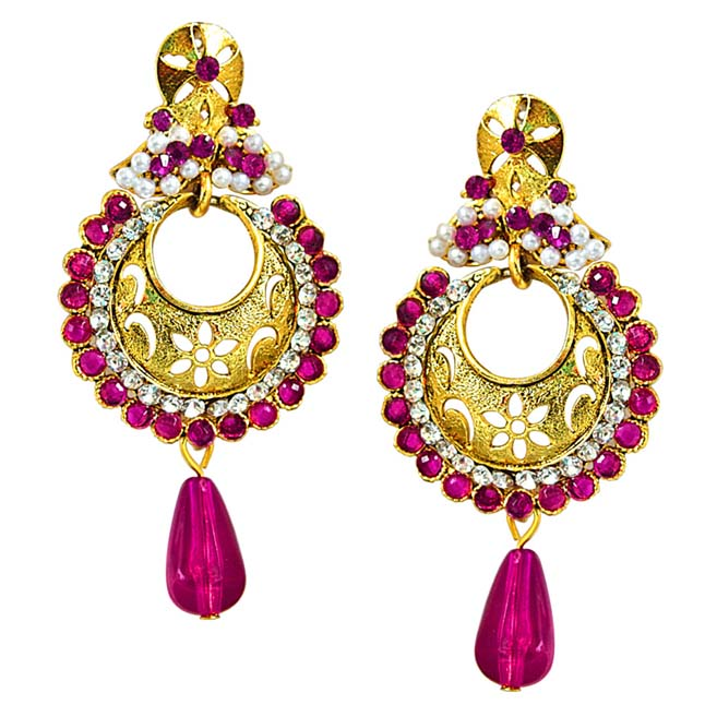 Traditional Pink & White Stones & Gold Plated Ch bali Earrings