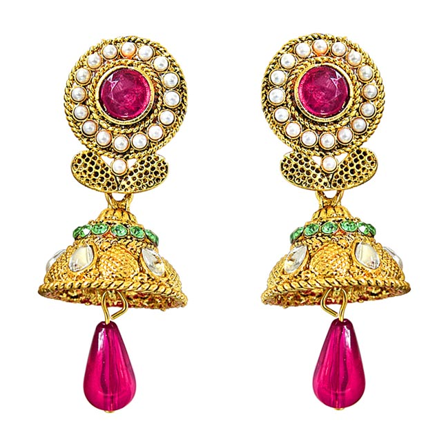 Traditional Pink, Green & White Stone & Gold Plated Ch bali Earrings